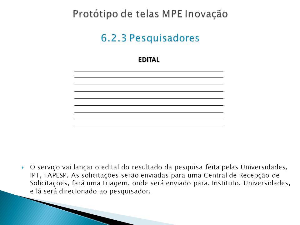 O serviço vai lançar o edital do resultado da pesquisa feita pelas Universidades, IPT, FAPESP. As solicitações serão enviadas para uma Central de Rece