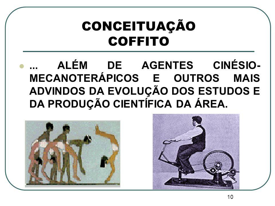 10 CONCEITUAÇÃO COFFITO... ALÉM DE AGENTES CINÉSIO- MECANOTERÁPICOS E OUTROS MAIS ADVINDOS DA EVOLUÇÃO DOS ESTUDOS E DA PRODUÇÃO CIENTÍFICA DA ÁREA.