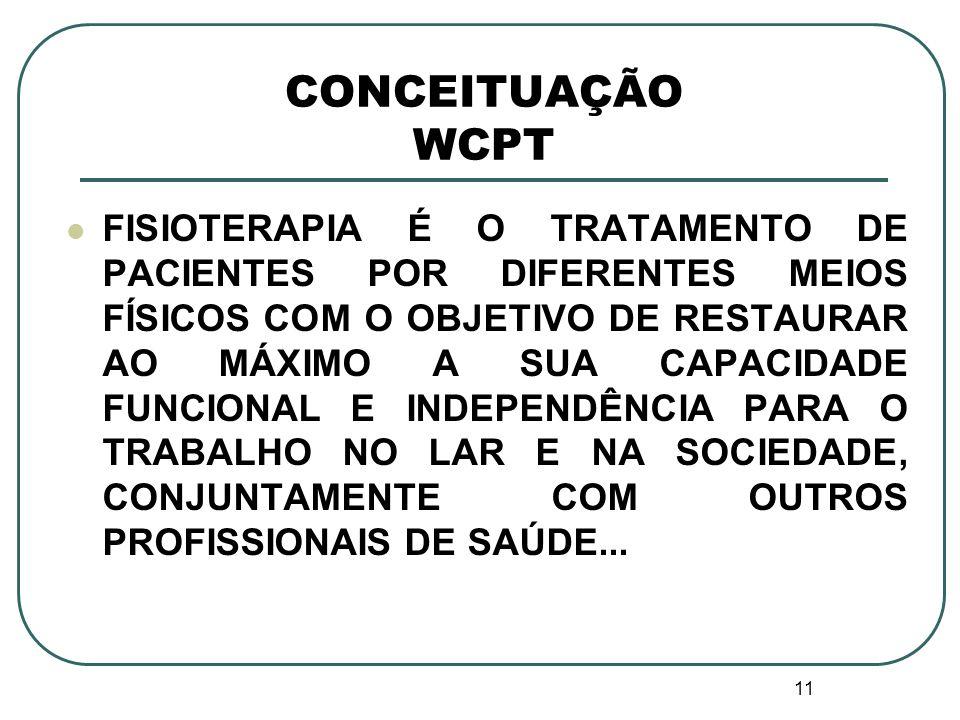 11 CONCEITUAÇÃO WCPT FISIOTERAPIA É O TRATAMENTO DE PACIENTES POR DIFERENTES MEIOS FÍSICOS COM O OBJETIVO DE RESTAURAR AO MÁXIMO A SUA CAPACIDADE FUNC