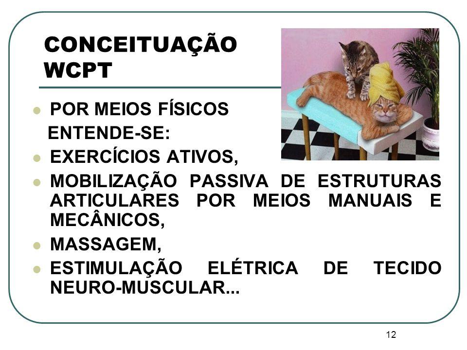 12 CONCEITUAÇÃO WCPT POR MEIOS FÍSICOS ENTENDE-SE: EXERCÍCIOS ATIVOS, MOBILIZAÇÃO PASSIVA DE ESTRUTURAS ARTICULARES POR MEIOS MANUAIS E MECÂNICOS, MAS