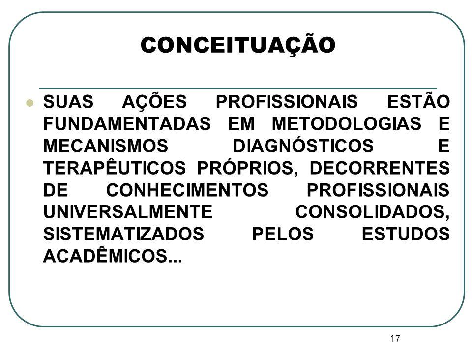 17 CONCEITUAÇÃO SUAS AÇÕES PROFISSIONAIS ESTÃO FUNDAMENTADAS EM METODOLOGIAS E MECANISMOS DIAGNÓSTICOS E TERAPÊUTICOS PRÓPRIOS, DECORRENTES DE CONHECI