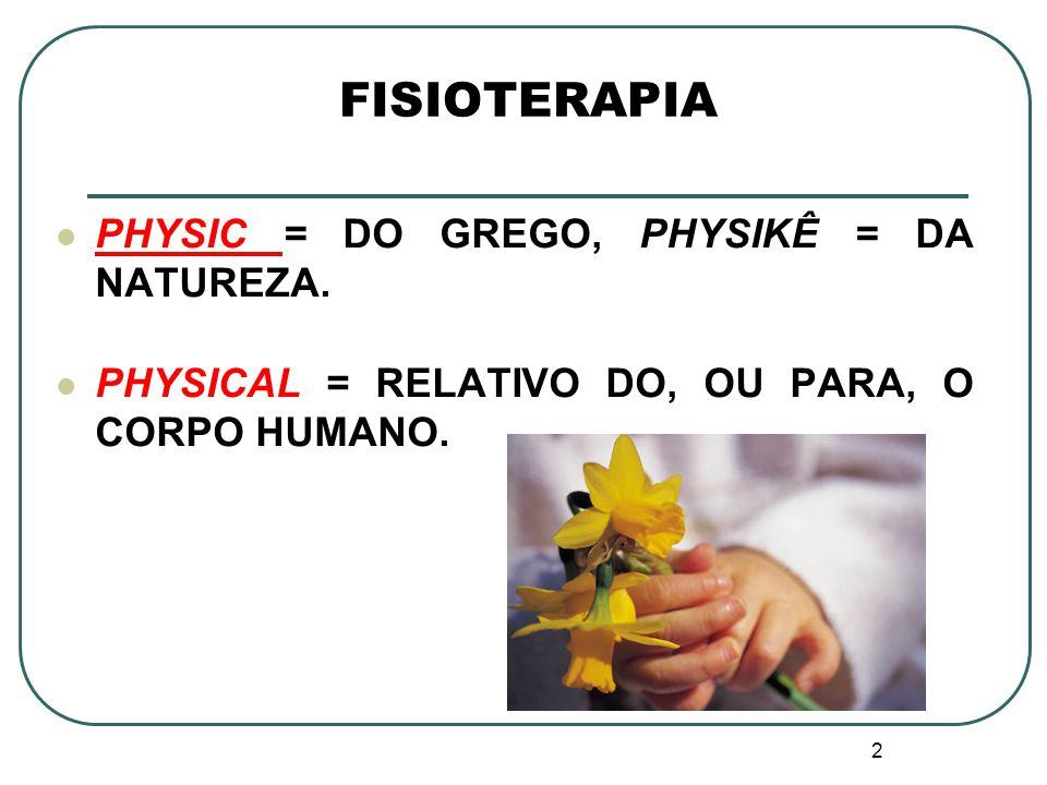 2 FISIOTERAPIA PHYSIC = DO GREGO, PHYSIKÊ = DA NATUREZA. PHYSICAL = RELATIVO DO, OU PARA, O CORPO HUMANO.