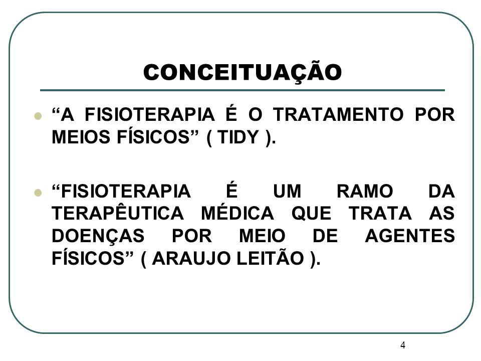 4 CONCEITUAÇÃO A FISIOTERAPIA É O TRATAMENTO POR MEIOS FÍSICOS ( TIDY ). FISIOTERAPIA É UM RAMO DA TERAPÊUTICA MÉDICA QUE TRATA AS DOENÇAS POR MEIO DE