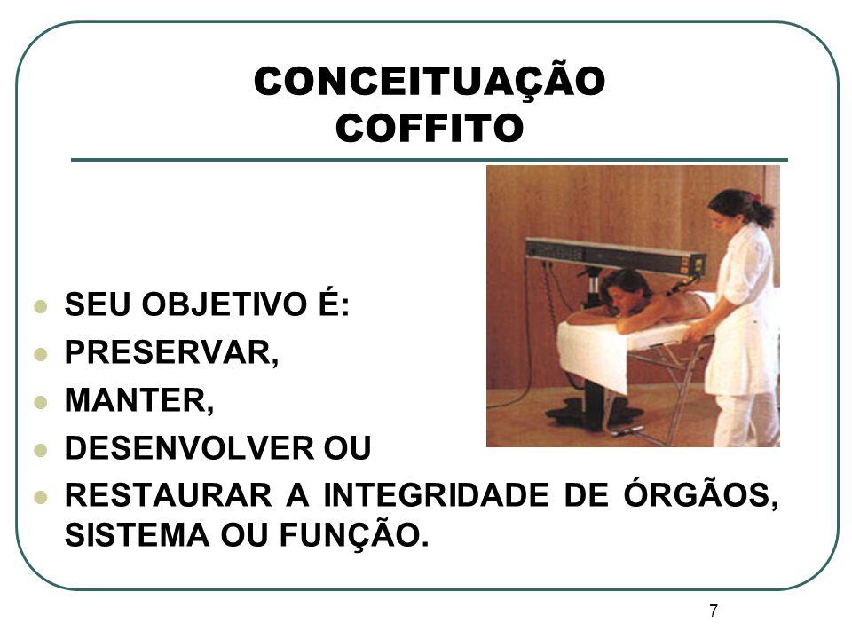 7 CONCEITUAÇÃO COFFITO SEU OBJETIVO É: PRESERVAR, MANTER, DESENVOLVER OU RESTAURAR A INTEGRIDADE DE ÓRGÃOS, SISTEMA OU FUNÇÃO.
