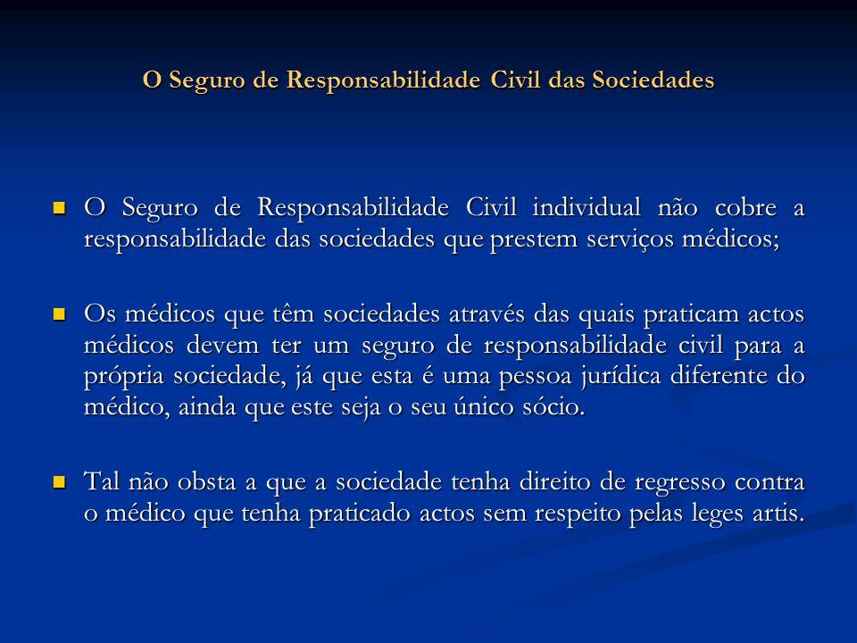 O Seguro de Responsabilidade Civil das Sociedades O Seguro de Responsabilidade Civil individual não cobre a responsabilidade das sociedades que preste