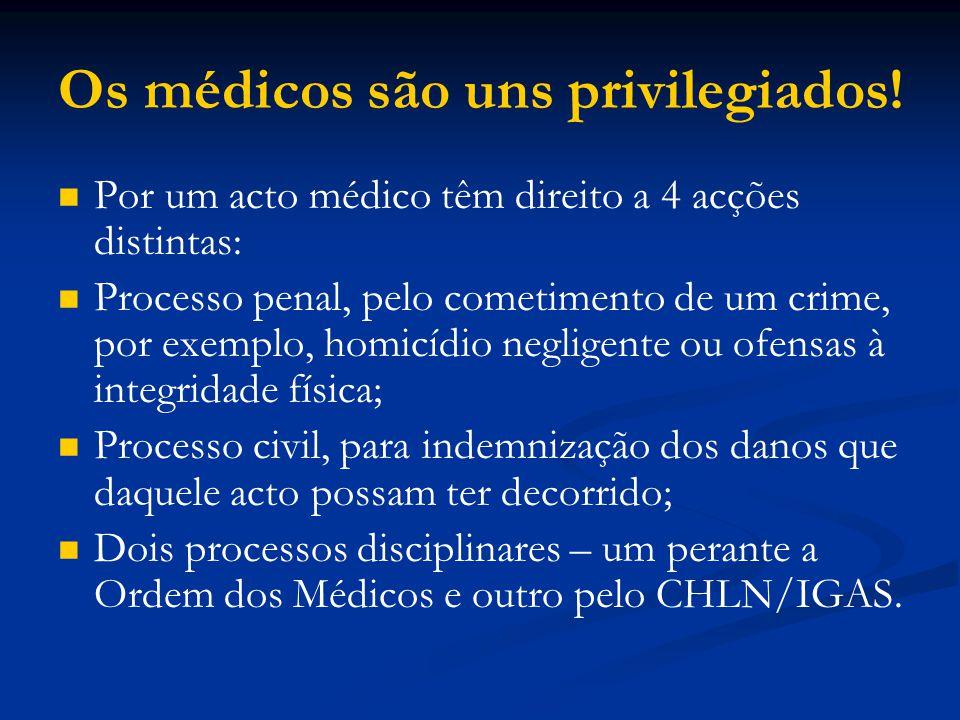 Os médicos são uns privilegiados! Por um acto médico têm direito a 4 acções distintas: Processo penal, pelo cometimento de um crime, por exemplo, homi