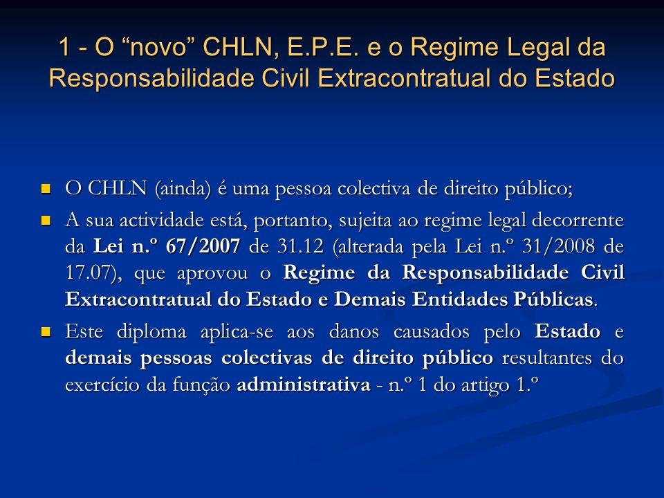 1 - O novo CHLN, E.P.E. e o Regime Legal da Responsabilidade Civil Extracontratual do Estado O CHLN (ainda) é uma pessoa colectiva de direito público;