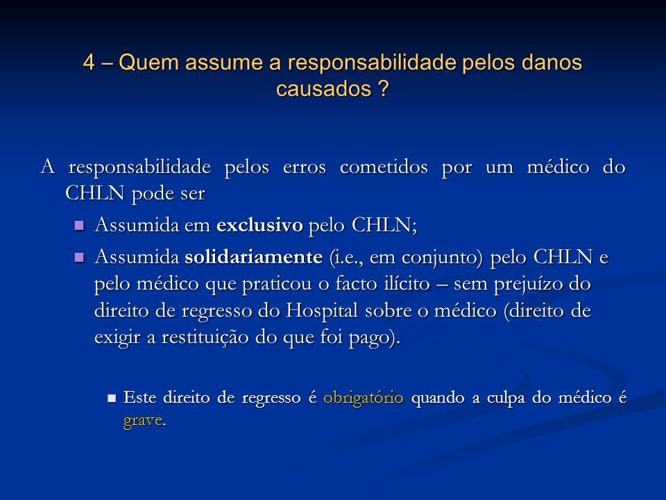 4 – Quem assume a responsabilidade pelos danos causados ? A responsabilidade pelos erros cometidos por um médico do CHLN pode ser Assumida em exclusiv