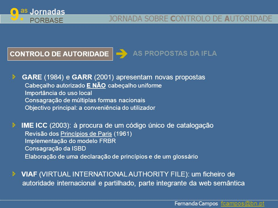 as 9. Jornadas PORBASE CONTROLO DE AUTORIDADE AS PROPOSTAS DA IFLA GARE (1984) e GARR (2001) apresentam novas propostas Cabeçalho autorizado E NÃO cab