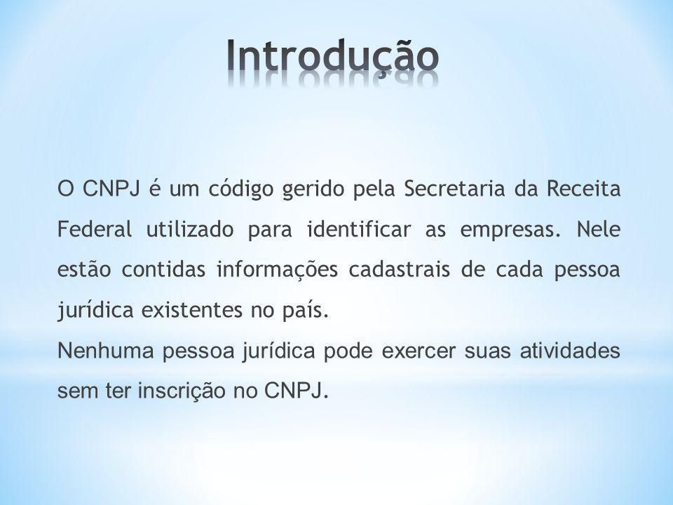O CNPJ é um código gerido pela Secretaria da Receita Federal utilizado para identificar as empresas. Nele estão contidas informações cadastrais de cad