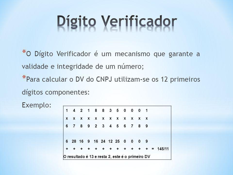 * O Dígito Verificador é um mecanismo que garante a validade e integridade de um número; * Para calcular o DV do CNPJ utilizam-se os 12 primeiros dígi
