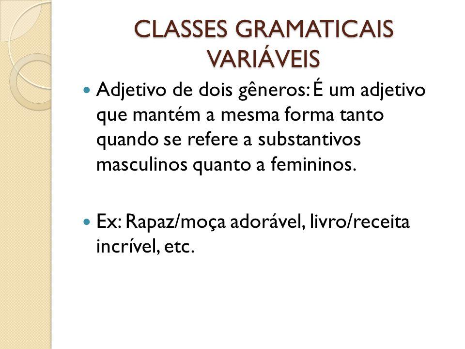 CLASSES GRAMATICAIS VARIÁVEIS Adjetivo de dois gêneros: É um adjetivo que mantém a mesma forma tanto quando se refere a substantivos masculinos quanto