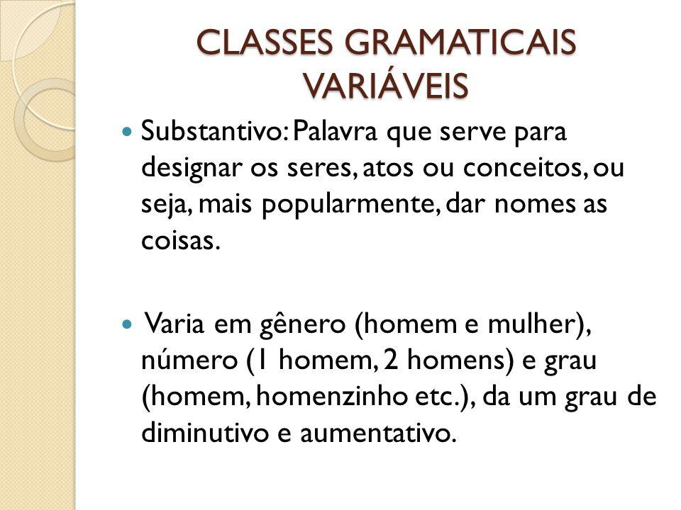 CLASSES GRAMATICAIS VARIÁVEIS Substantivo: Palavra que serve para designar os seres, atos ou conceitos, ou seja, mais popularmente, dar nomes as coisas.