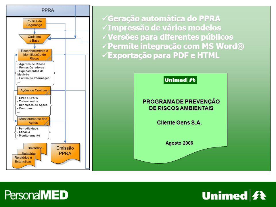 Geração automática do PPRA Geração automática do PPRA Impressão de vários modelos Impressão de vários modelos Versões para diferentes públicos Versões