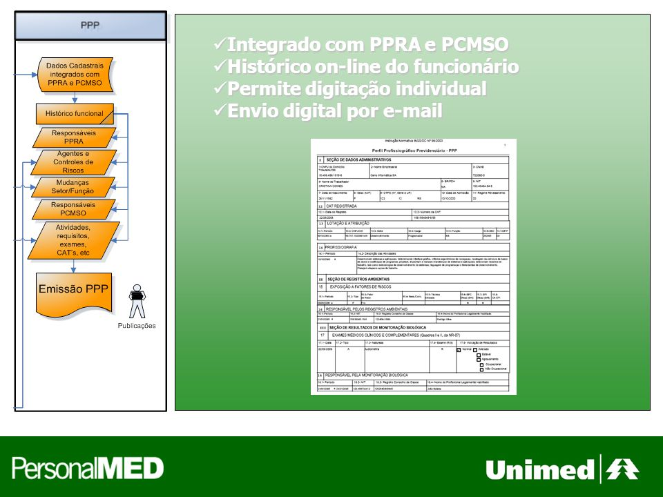 Integrado com PPRA e PCMSO Integrado com PPRA e PCMSO Histórico on-line do funcionário Histórico on-line do funcionário Permite digitação individual Permite digitação individual Envio digital por e-mail Envio digital por e-mail