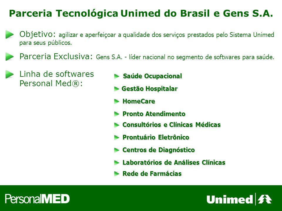 Parceria Tecnológica Unimed do Brasil e Gens S.A. Objetivo: agilizar e aperfeiçoar a qualidade dos serviços prestados pelo Sistema Unimed para seus pú