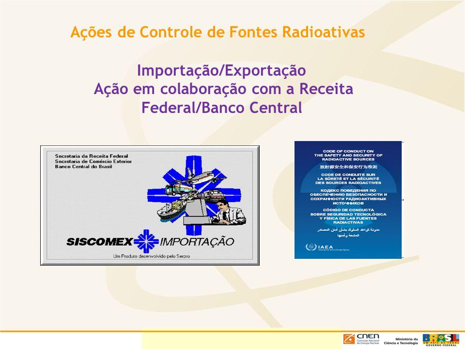 Ações de Controle de Fontes Radioativas Importação/Exportação Ação em colaboração com a Receita Federal/Banco Central