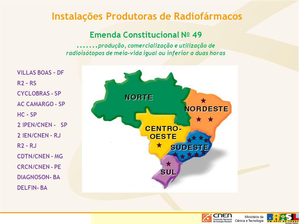 Instalações Produtoras de Radiofármacos VILLAS BOAS – DF R2 – RS CYCLOBRAS - SP AC CAMARGO - SP HC – SP 2 IPEN/CNEN - SP 2 IEN/CNEN – RJ R2 – RJ CDTN/