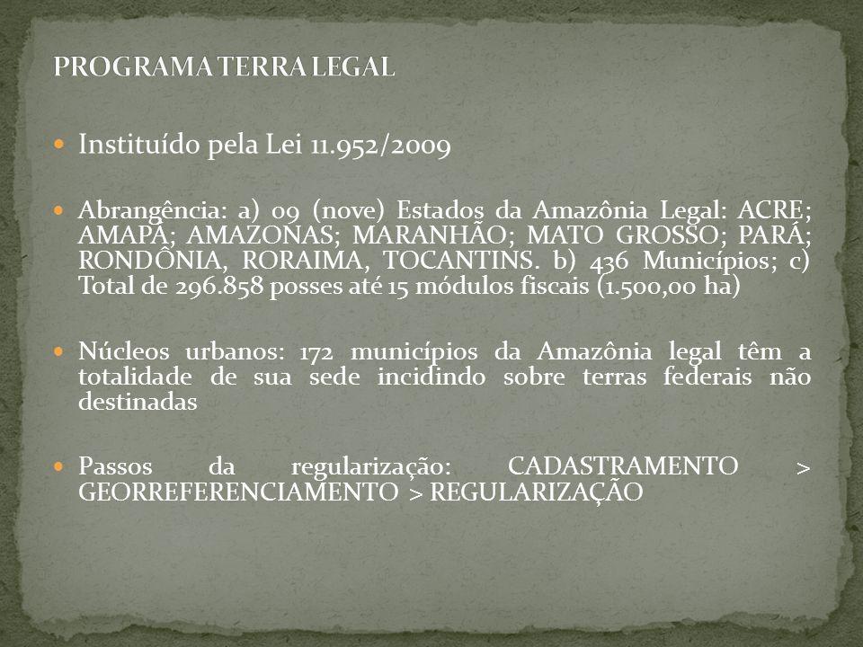 Instituído pela Lei 11.952/2009 Abrangência: a) 09 (nove) Estados da Amazônia Legal: ACRE; AMAPÁ; AMAZONAS; MARANHÃO; MATO GROSSO; PARÁ; RONDÔNIA, ROR