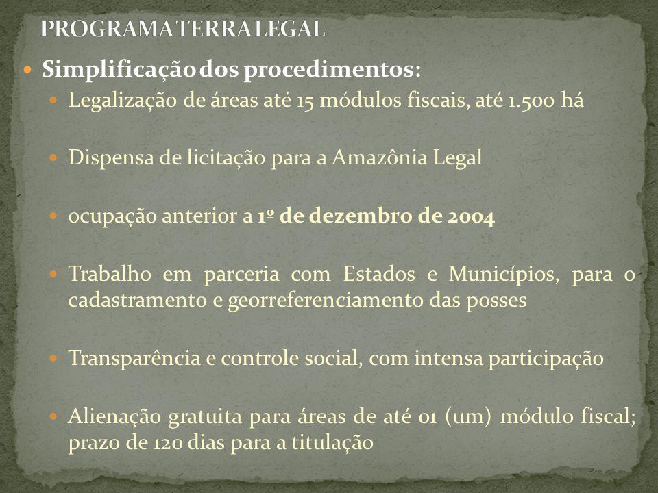 Simplificação dos procedimentos: Legalização de áreas até 15 módulos fiscais, até 1.500 há Dispensa de licitação para a Amazônia Legal ocupação anteri
