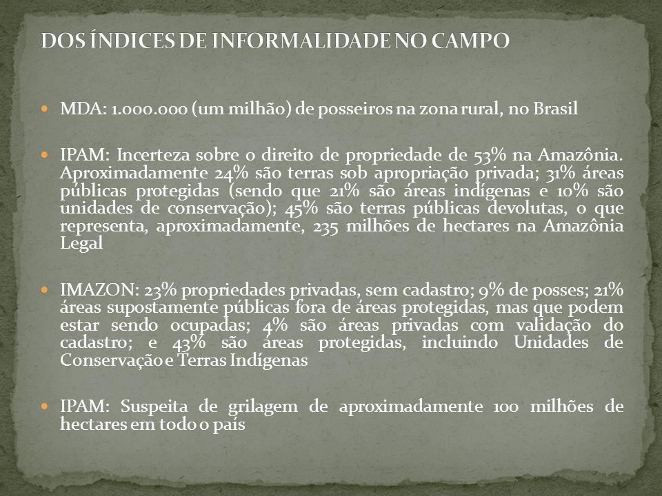 MDA: 1.000.000 (um milhão) de posseiros na zona rural, no Brasil IPAM: Incerteza sobre o direito de propriedade de 53% na Amazônia. Aproximadamente 24