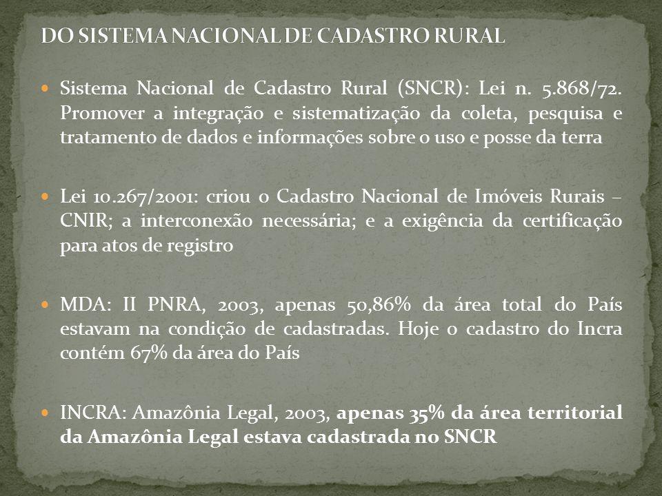 Sistema Nacional de Cadastro Rural (SNCR): Lei n. 5.868/72. Promover a integração e sistematização da coleta, pesquisa e tratamento de dados e informa