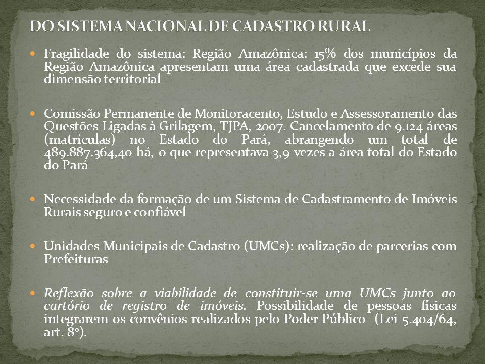 Fragilidade do sistema: Região Amazônica: 15% dos municípios da Região Amazônica apresentam uma área cadastrada que excede sua dimensão territorial Co