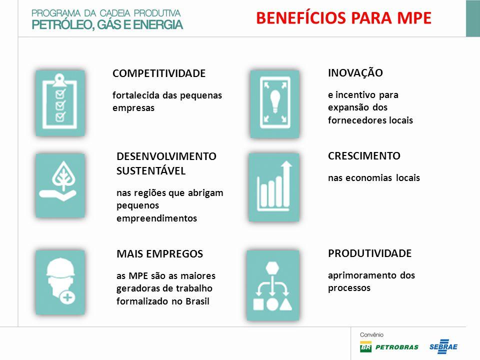 COMPETITIVIDADE fortalecida das pequenas empresas DESENVOLVIMENTO SUSTENTÁVEL nas regiões que abrigam pequenos empreendimentos MAIS EMPREGOS as MPE são as maiores geradoras de trabalho formalizado no Brasil INOVAÇÃO e incentivo para expansão dos fornecedores locais CRESCIMENTO nas economias locais PRODUTIVIDADE aprimoramento dos processos BENEFÍCIOS PARA MPE