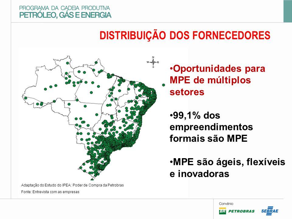 DISTRIBUIÇÃO DOS FORNECEDORES Adaptação do Estudo do IPEA: Poder de Compra da Petrobras Fonte: Entrevista com as empresas Oportunidades para MPE de múltiplos setores 99,1% dos empreendimentos formais são MPE MPE são ágeis, flexíveis e inovadoras