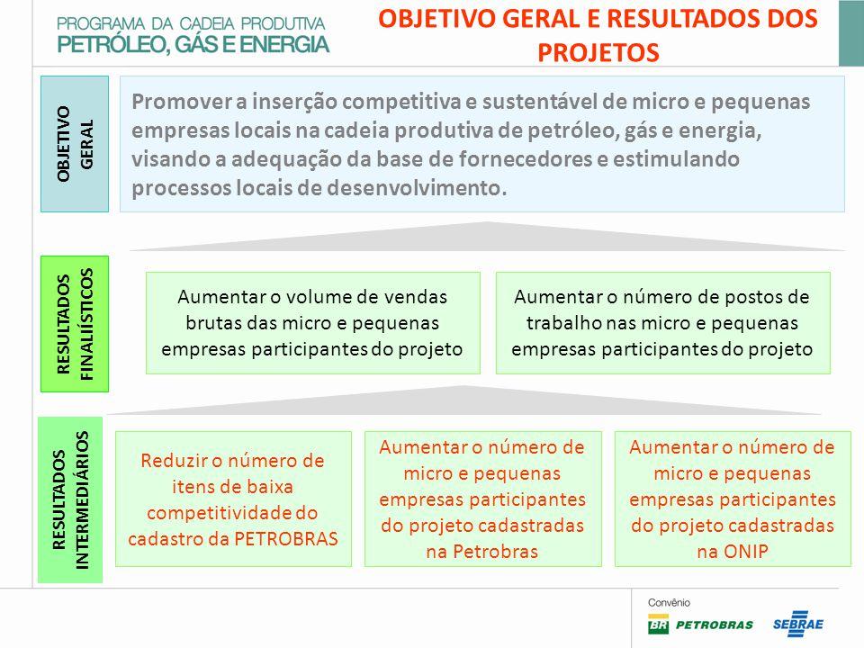 OBJETIVO GERAL E RESULTADOS DOS PROJETOS Aumentar o número de micro e pequenas empresas participantes do projeto cadastradas na ONIP RESULTADOS INTERMEDIÁRIOS OBJETIVO GERAL Promover a inserção competitiva e sustentável de micro e pequenas empresas locais na cadeia produtiva de petróleo, gás e energia, visando a adequação da base de fornecedores e estimulando processos locais de desenvolvimento.
