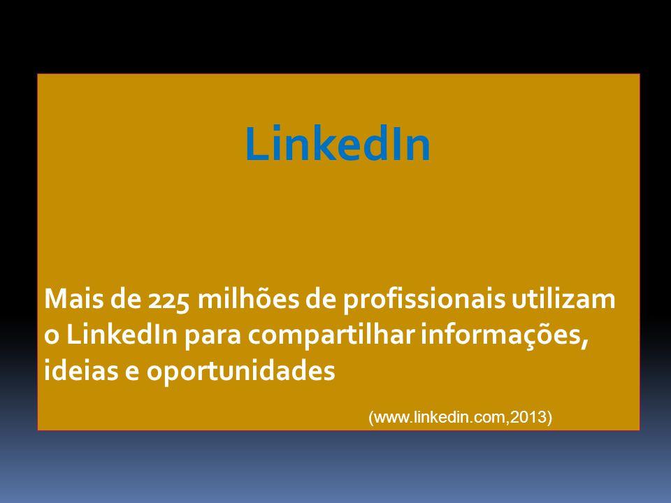 LinkedIn Mais de 225 milhões de profissionais utilizam o LinkedIn para compartilhar informações, ideias e oportunidades (www.linkedin.com,2013)