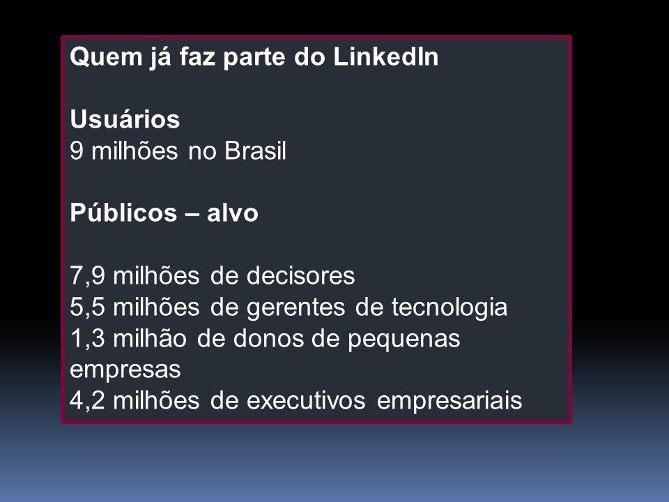 Quem já faz parte do LinkedIn Usuários 9 milhões no Brasil Públicos – alvo 7,9 milhões de decisores 5,5 milhões de gerentes de tecnologia 1,3 milhão d