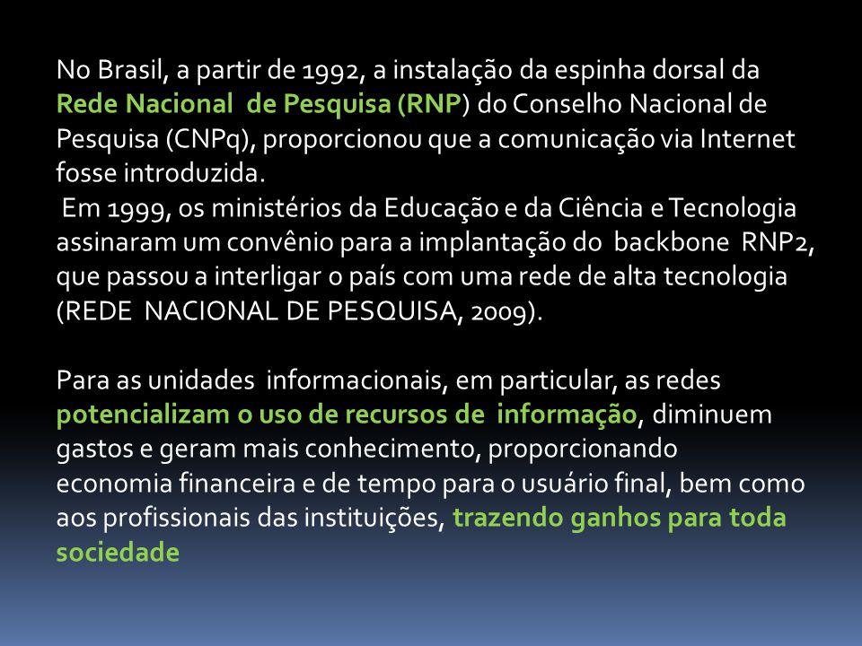 No Brasil, a partir de 1992, a instalação da espinha dorsal da Rede Nacional de Pesquisa (RNP) do Conselho Nacional de Pesquisa (CNPq), proporcionou que a comunicação via Internet fosse introduzida.