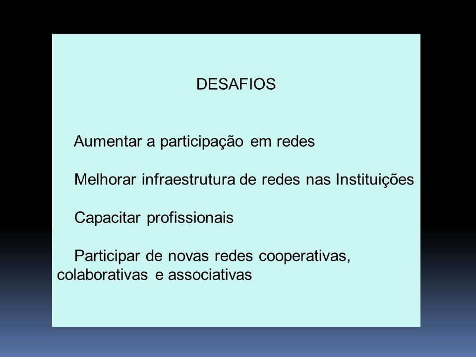 DESAFIOS Aumentar a participação em redes Melhorar infraestrutura de redes nas Instituições Capacitar profissionais Participar de novas redes cooperat