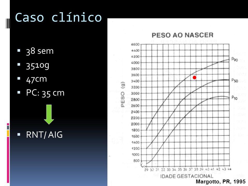 Caso clínico História Pré-natal (conforme prontuário) Mãe: 21 anos, G3 P2 C1 A0, TS O +, sem registro de patologias Pré natal: 3 consultas ECO (22/04/2010): hidroureteronefrose bilateral Sorologias 2ºT: Toxo (IgM-/ IgG+); rubéola (IgM-/ IgG+); CMV (IgM-/ IgG+)