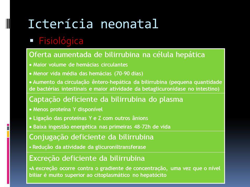 Icterícia neonatal Fisiológica Oferta aumentada de bilirrubina na célula hepática Maior volume de hemácias circulantes Menor vida média das hemácias (