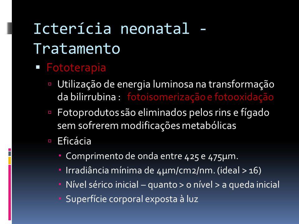 Icterícia neonatal - Tratamento Fototerapia Utilização de energia luminosa na transformação da bilirrubina : fotoisomerização e fotooxidação Fotoprodu