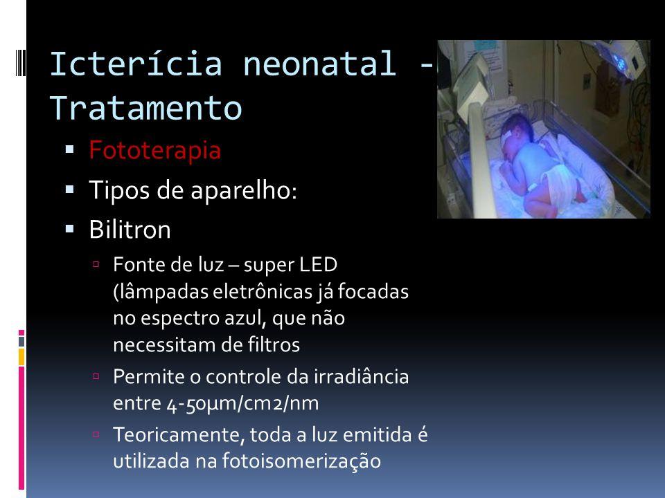 Fototerapia Tipos de aparelho: Bilitron Fonte de luz – super LED (lâmpadas eletrônicas já focadas no espectro azul, que não necessitam de filtros Perm