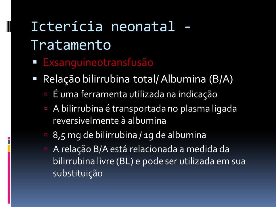 Exsanguineotransfusão Relação bilirrubina total/ Albumina (B/A) É uma ferramenta utilizada na indicação A bilirrubina é transportada no plasma ligada