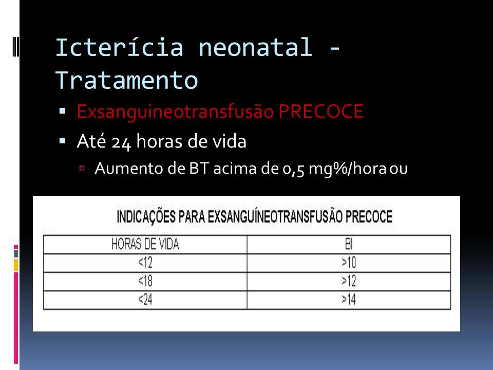 Exsanguineotransfusão PRECOCE Até 24 horas de vida Aumento de BT acima de 0,5 mg%/hora ou Icterícia neonatal - Tratamento