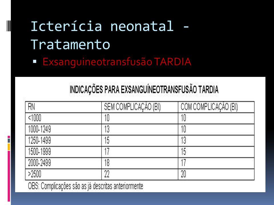 Exsanguineotransfusão TARDIA Icterícia neonatal - Tratamento