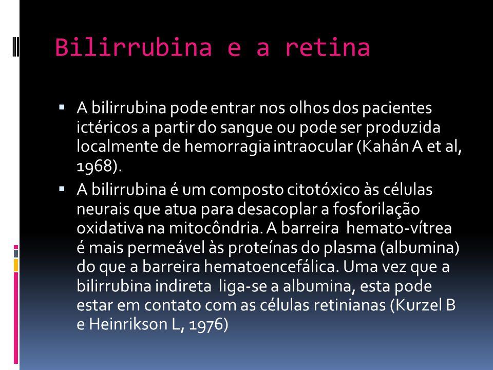 Bilirrubina e a retina A bilirrubina pode entrar nos olhos dos pacientes ictéricos a partir do sangue ou pode ser produzida localmente de hemorragia i