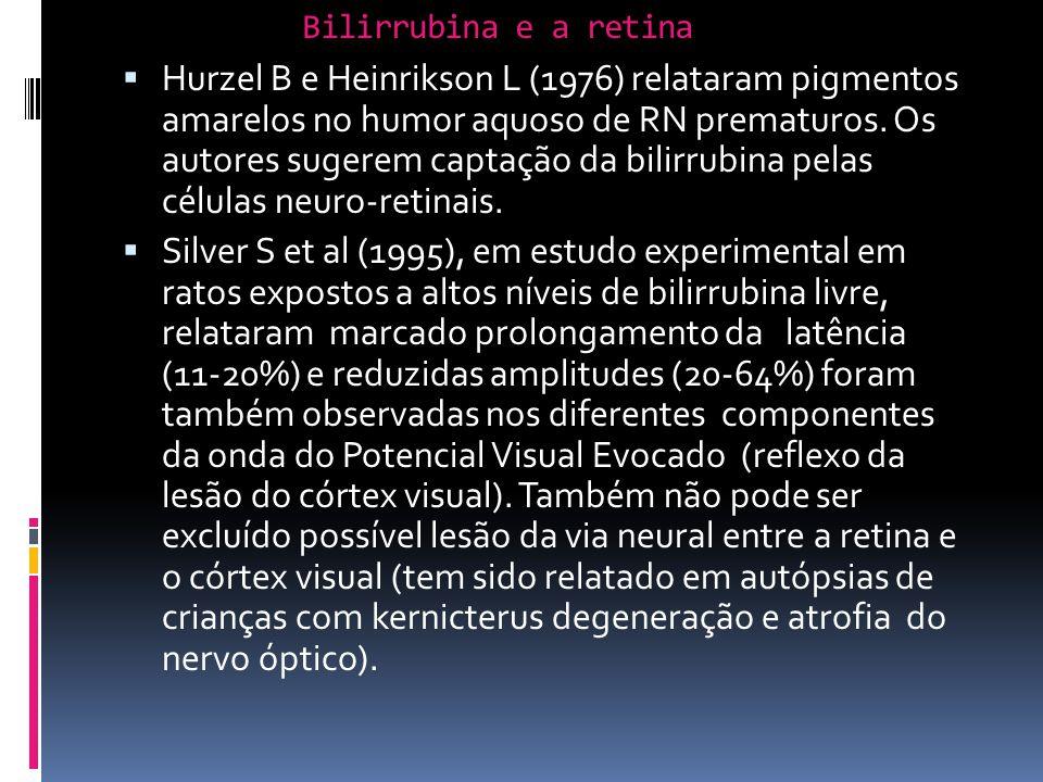 Hurzel B e Heinrikson L (1976) relataram pigmentos amarelos no humor aquoso de RN prematuros. Os autores sugerem captação da bilirrubina pelas células