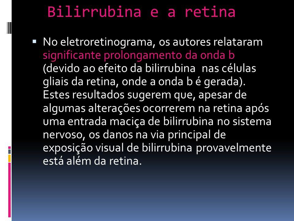 No eletroretinograma, os autores relataram significante prolongamento da onda b (devido ao efeito da bilirrubina nas células gliais da retina, onde a