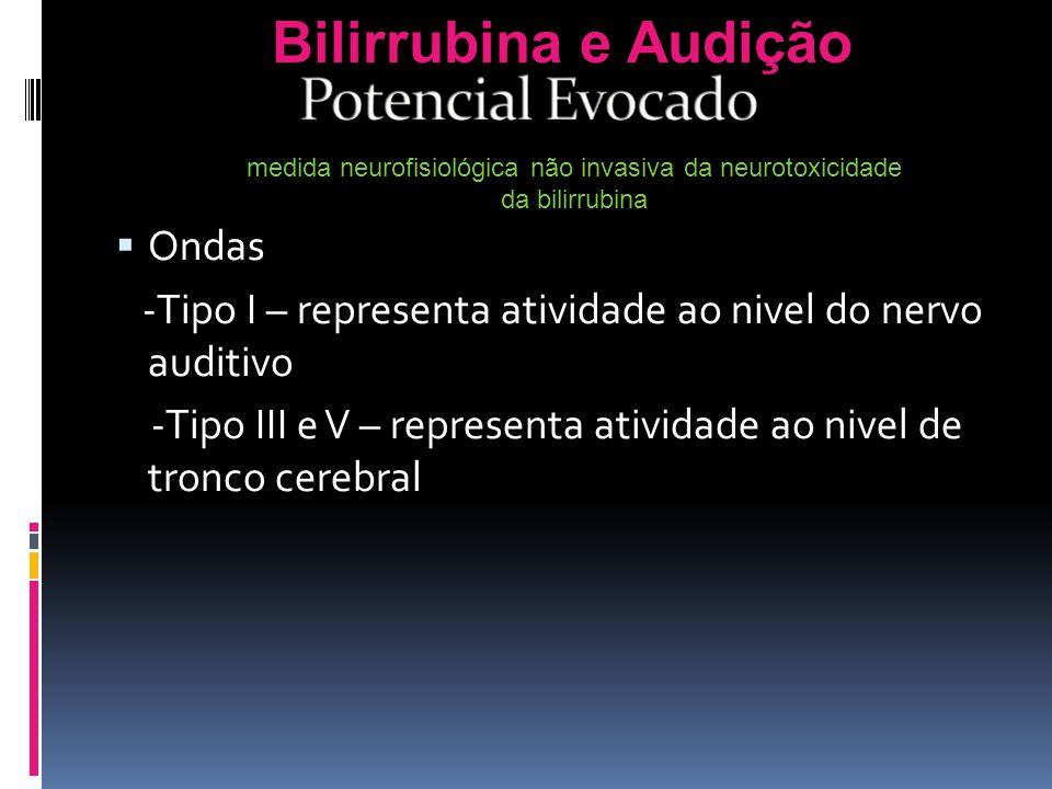 Ondas -Tipo I – representa atividade ao nivel do nervo auditivo -Tipo III e V – representa atividade ao nivel de tronco cerebral Bilirrubina e Audição