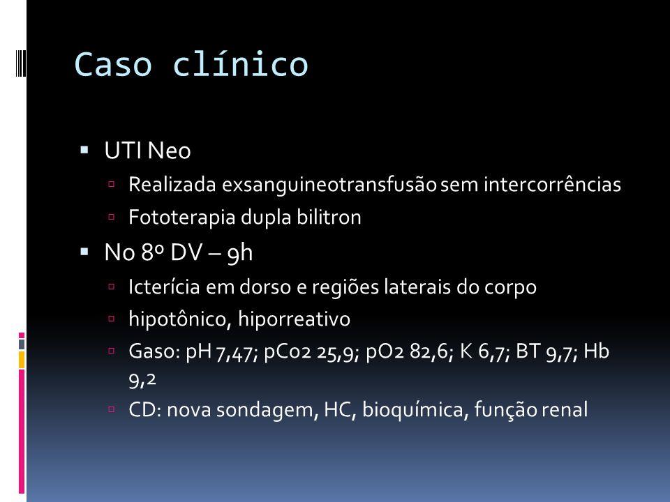 Caso clínico No 8º DV – às 17h: Ur: 71; Cr 1,2; k: 5,6; Hb 10,6; Htc 32,5%; leuc 15400; linf 27% ; bast 1%; neut 57%; mono 12%; plaq 88000; granulações tóxicas 3+ NT: 8932; NI: 154; NI/ NT: 0,01 CD: Alterada fototerapia: 1 bilitrom e 1 foto halógena