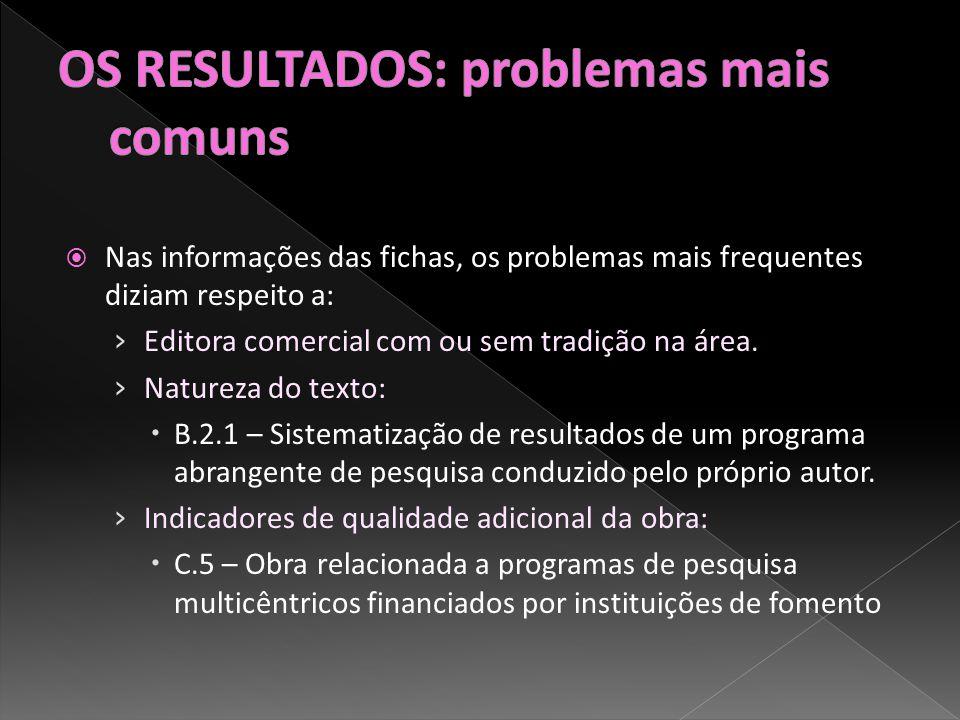 Nas informações das fichas, os problemas mais frequentes diziam respeito a: Editora comercial com ou sem tradição na área.