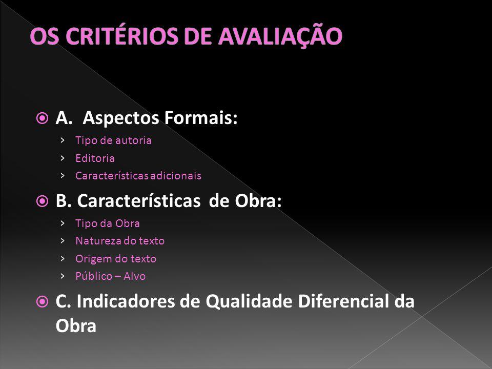 A. Aspectos Formais: Tipo de autoria Editoria Características adicionais B.