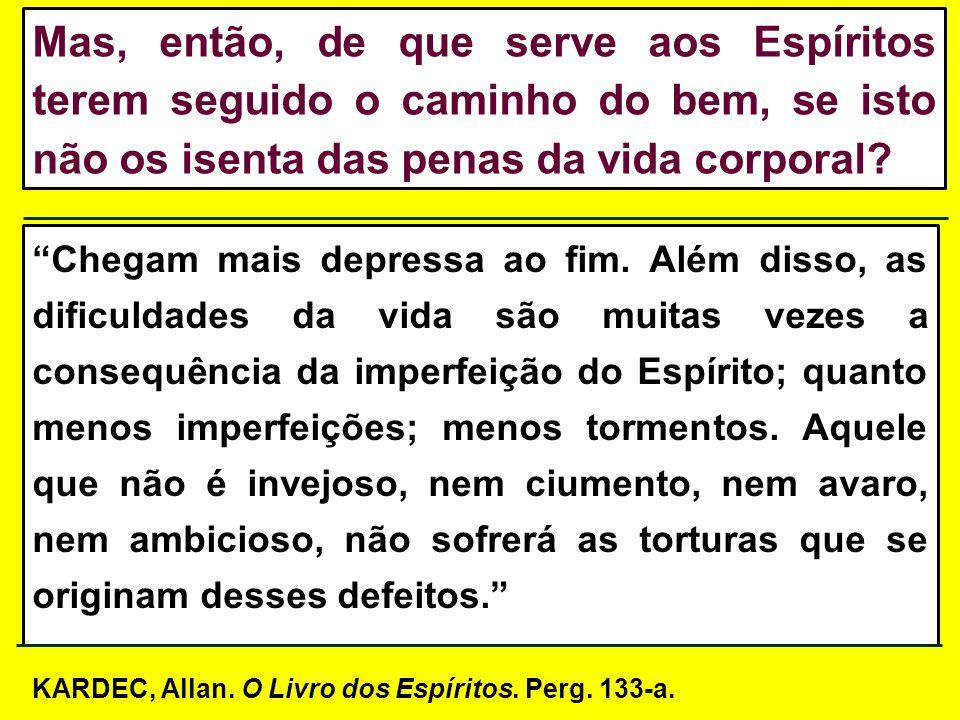 III: Pelo [...] trabalho inteligente que ele [o Espírito] executa em seu proveito, sobre a matéria do globo que lhe serve de habitação.