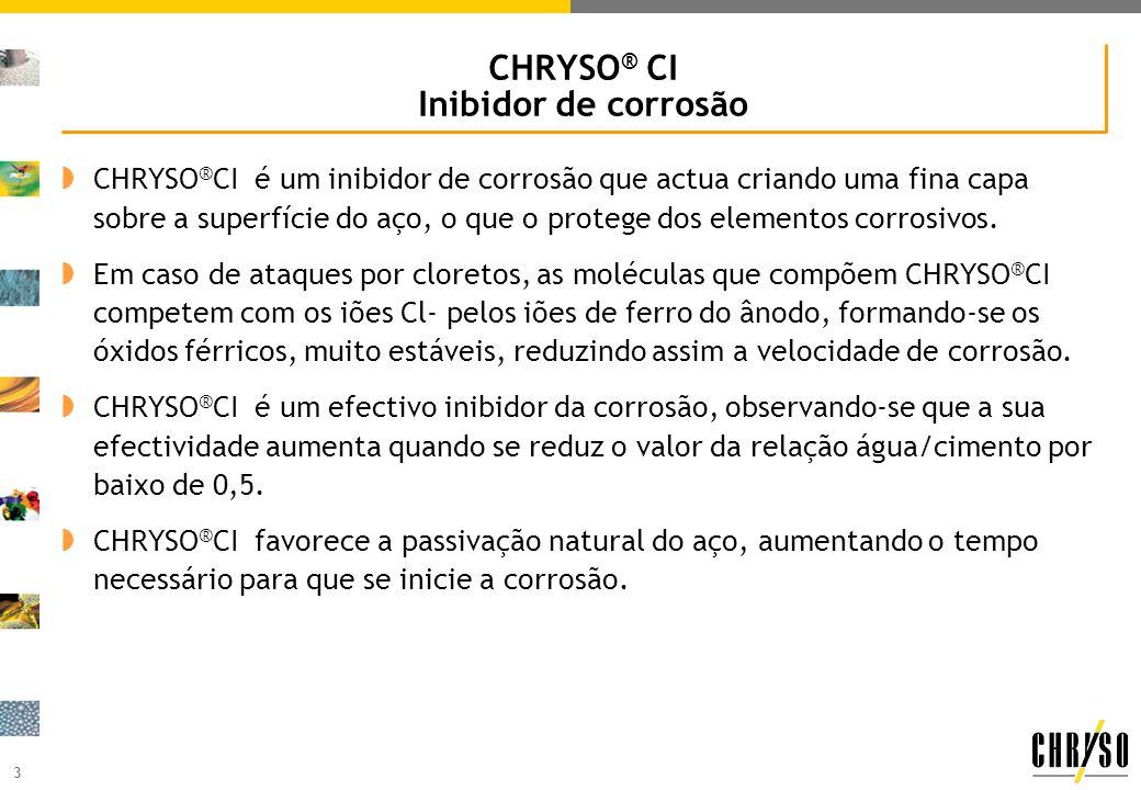 3 CHRYSO ® CI Inibidor de corrosão CHRYSO ® CI é um inibidor de corrosão que actua criando uma fina capa sobre a superfície do aço, o que o protege do